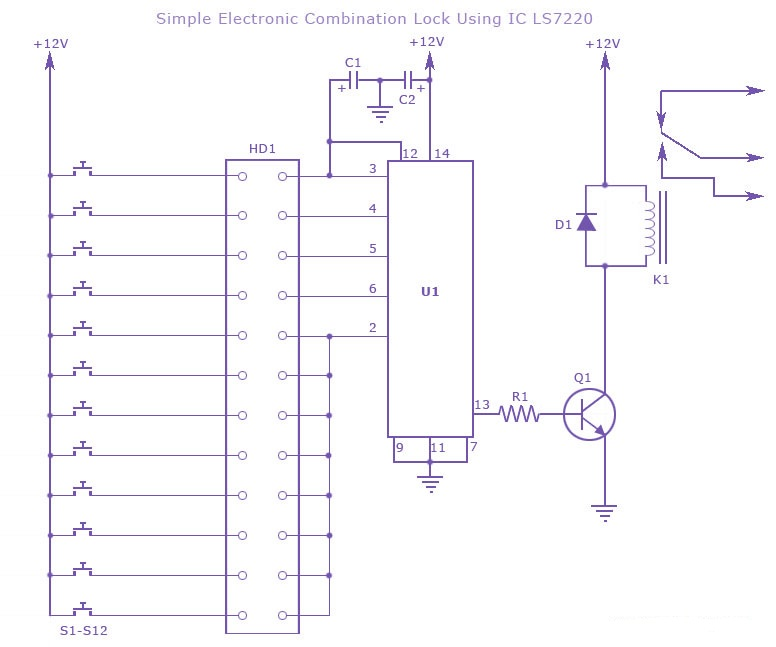 Electronic Combination Lock circuit using LS7220 - Gadgetronicx