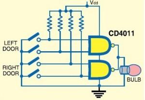 CD4011-circuit-Door-open-indicator-circuit