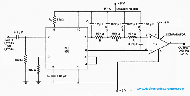 Wireless-modem-designing-FSK-demodulator-using-IC-565