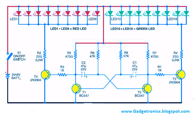LED-christmas-lights-using-Transistors