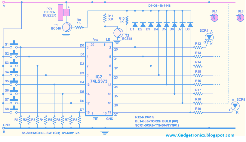 quiz buzzer circuit using ic 74ls373 gadgetronicx rh gadgetronicx com  quiz buzzer schematic diagram