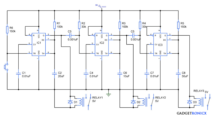 Sequential process control with time delay using IC 555 - Gadgetronicx