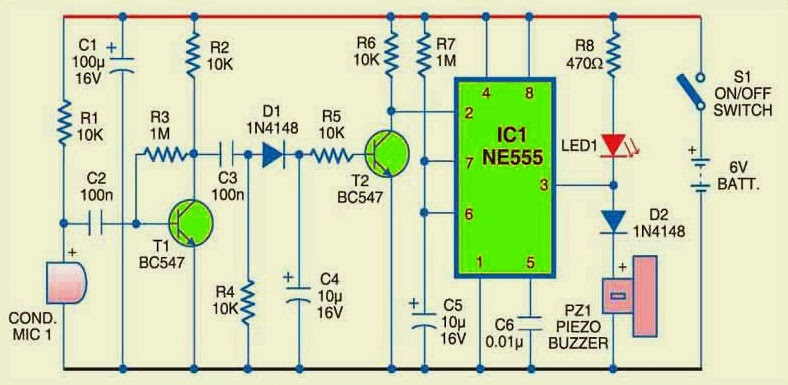 noise or sound sensor alarm circuit using ic 555 gadgetronicx rh gadgetronicx com sound sensor circuit project sound sensor circuit design