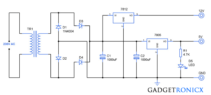 12v 5v dual power supply circuit gadgetronicx rh gadgetronicx com 5v power supply circuit diagram using 7805 5v 5a power supply circuit diagram