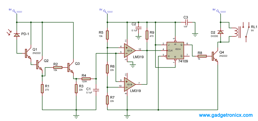 IR-receiver-remote-control-electrical-appliances-circuit