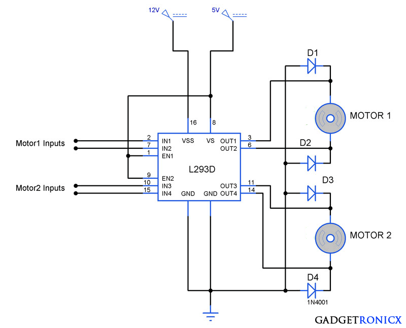Bidirectional Motor Controller Circuit using L293D - Gadgetronicx