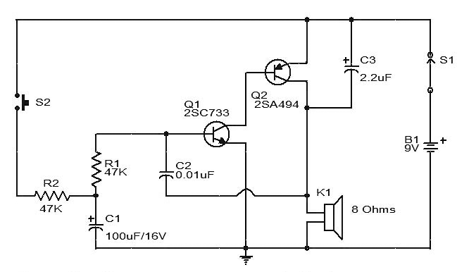 siren circuit diagram using two transistors gadgetronicx rh gadgetronicx com transistor amplifier circuit diagram npn transistor circuit diagram
