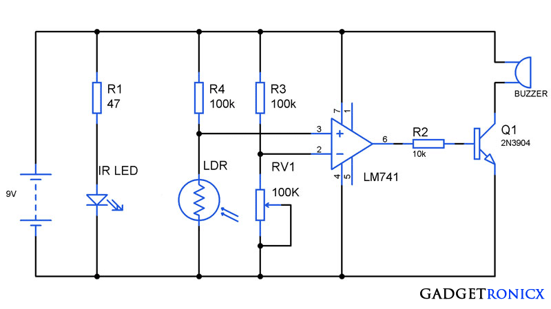 Anti Theft Alarm Circuit Ic 741 on simple alarm circuit diagram