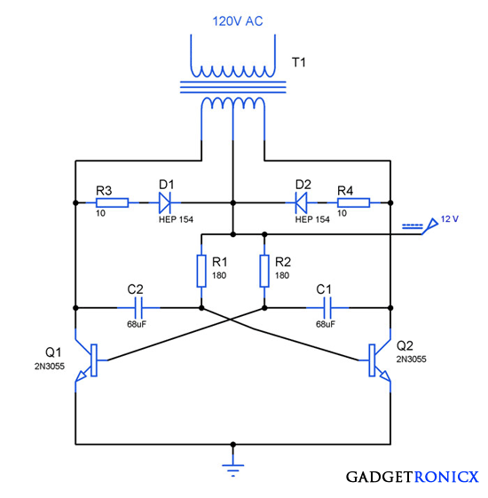 Schematic Of A Solar Powered Battery Charger likewise High Voltage Smps Schematic moreover 13v820a additionally Automobile White LED Light as well Simple Basic Inverter Circuit Using Transistors. on simple 120vac 12v power supply circuit