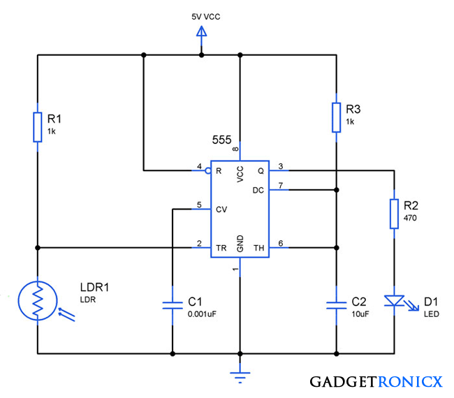 Light activated switch circuit using LDR and IC 555 - Gadgetronicx