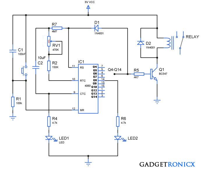 how to build 24 hours timer circuit with ic 4060 gadgetronicx rh gadgetronicx com