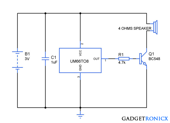 Song or Melody Generator Circuit using IC UM66TXX - Gadgetronicx