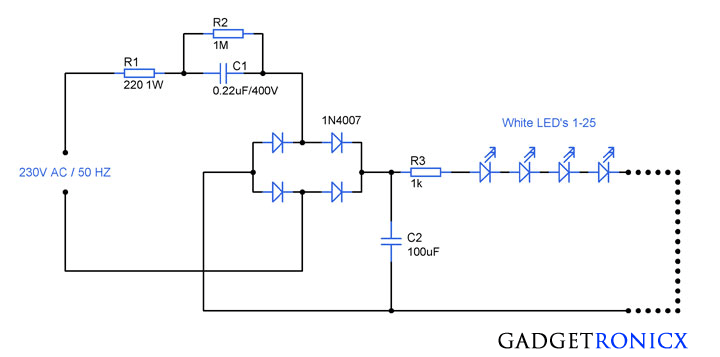 230v ac mains operated led light circuit diagram gadgetronicx rh gadgetronicx com LED String Lights Simple LED Circuit Diagram