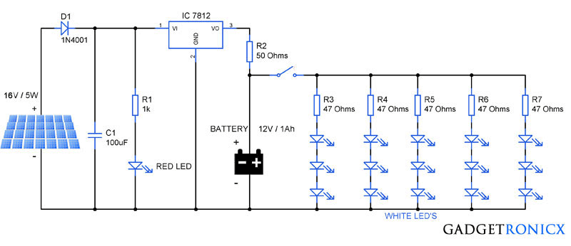 solar garden lights circuit