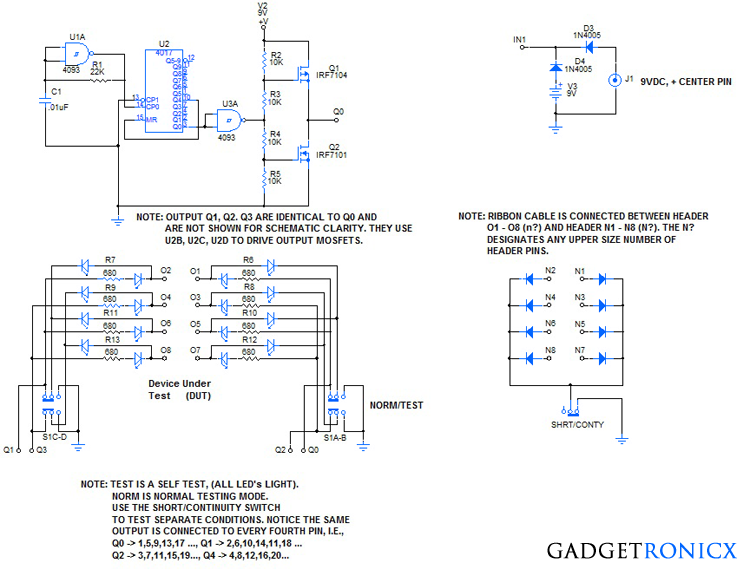 HECableTest2 idc ribbon cable tester circuit gadgetronicx Basic Electrical Wiring Diagrams at edmiracle.co