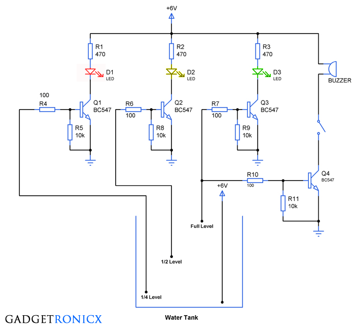 water level indicator circuit gadgetronicx tank water level indicator alarm circuit diagram