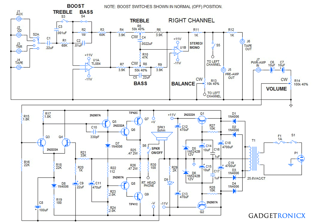 diy 30 watt stereo amplifier circuit gadgetronicx rh gadgetronicx com stk4141 stereo amplifier circuit diagram 50wx2 car stereo amplifier circuit diagram
