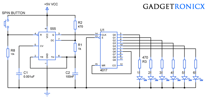 Electronic Dice Circuit using IC CD4017 - Gadgetronicx