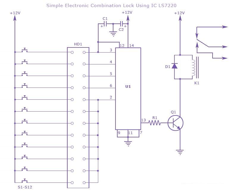 Electronic Combination Lock Circuit Using Ls7220