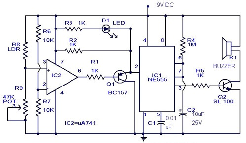 intruder alarm circuit diagram using opamp and ic 555 gadgetronicx