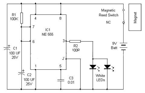 IC-NE555-cupboard-lighting-circuit-reed-switch