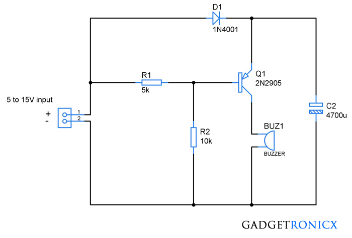 simple power supply diagram power failure alarm circuit without individual power supply  power failure alarm circuit without