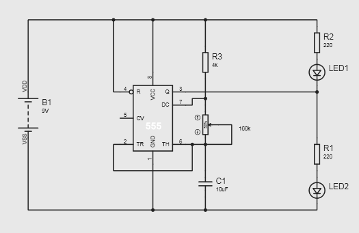 alternate switching led circuit using ic 555