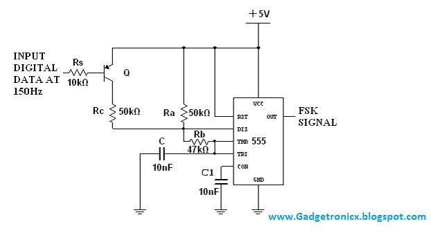 Wirelss-modem-designing-FSK-modulator-IC-NE-555