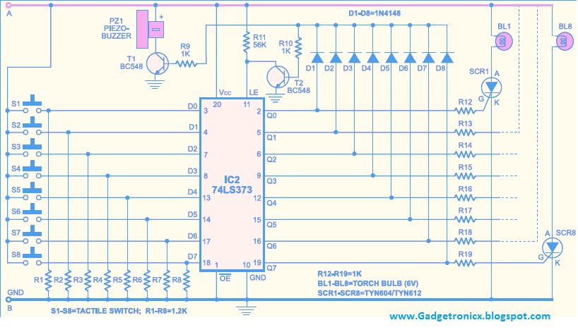 Magnificent Quiz Buzzer Circuit Using Ic 74Ls373 Gadgetronicx Wiring Cloud Brecesaoduqqnet