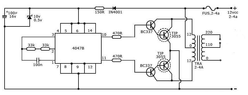 40 watt inverter circuit using cd4047