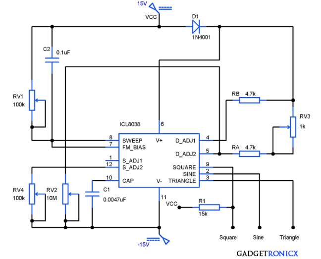 Function-generator-circuit-using-icl8038-waveform-oscillator