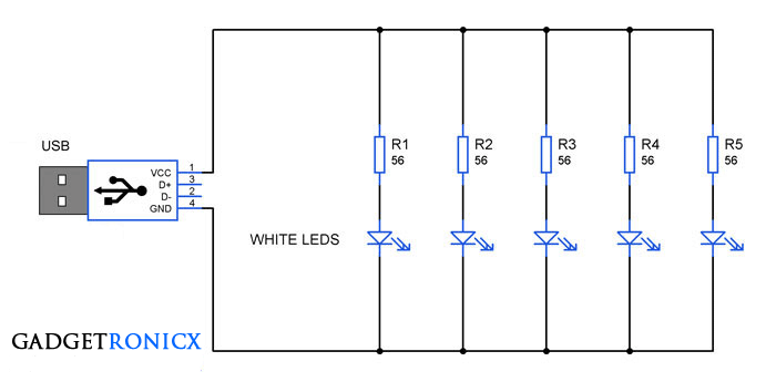 Gadgetronicx Night White USB Lamp Circuit using LEDs y80vnwmNO