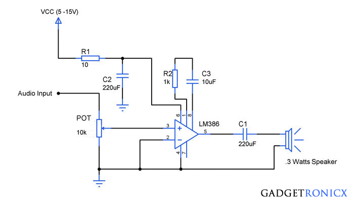 audio amplifier schematic this noninverting audio amplifier circuitaudio amplifier circuit using ic lm386 gadgetronicx rh gadgetronicx com