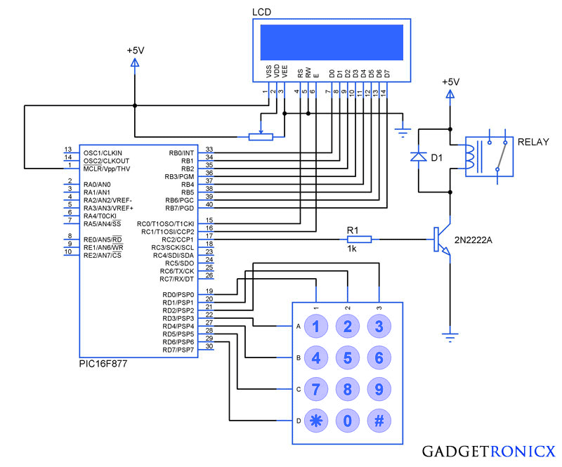 Electronic-Code-Locking-system-pic-microcontroller-circuit-diagram
