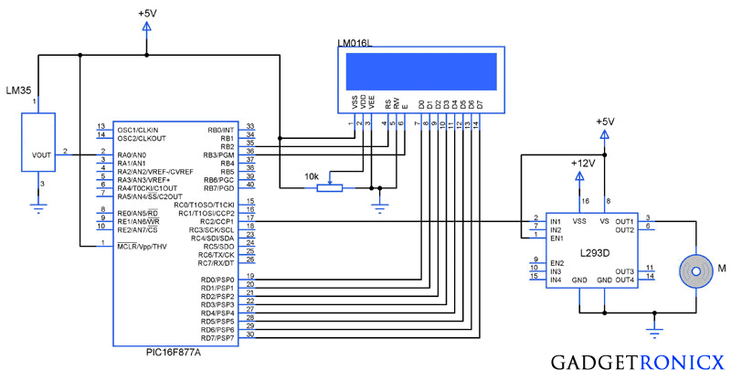 Temperature controlled fan using PIC 16F877A - Gadgetronicx