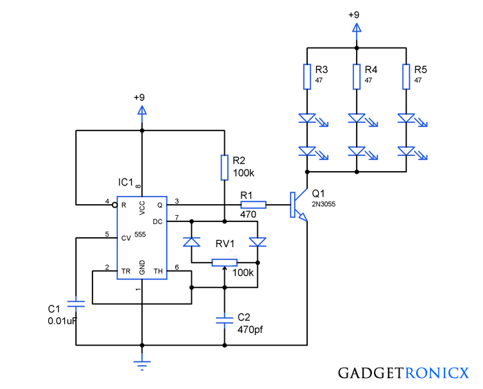 PWM LED dimmer circuit using IC 555 - Gadgetronicx | Pwm Schematic |  | Gadgetronicx