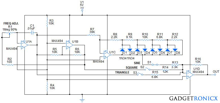 function-generator-circuit-using-quad-opamp-max494