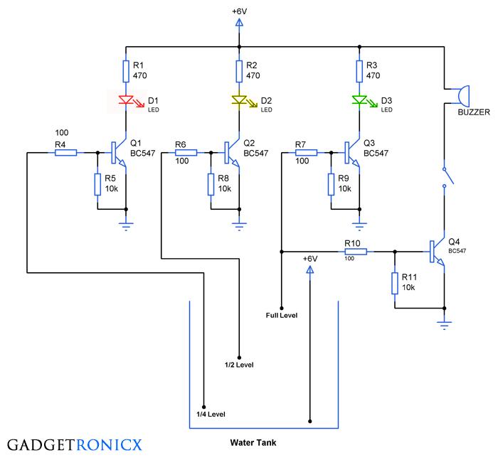 water level indicator circuit gadgetronicxtank water level indicator with alarm circuit diagram