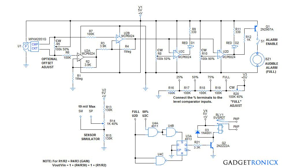 Universal Liquid Level Indicator Circuit With Pump Control
