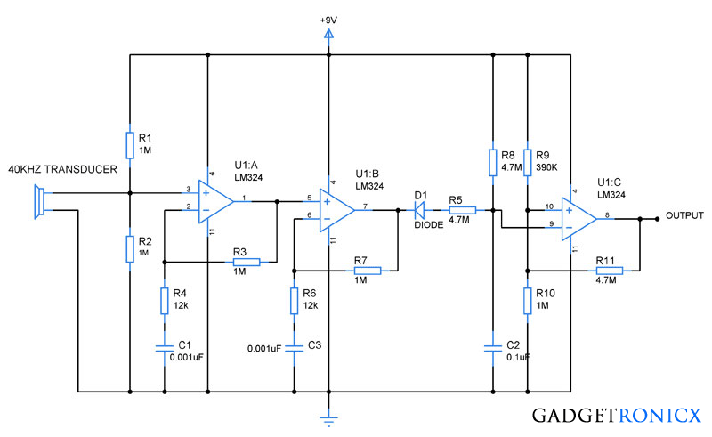 ultrasonic receiver circuit using opamp lm324 gadgetronicx