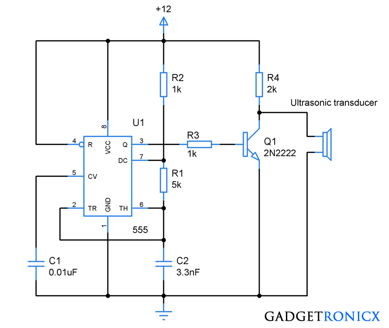 Ultrasonic transmitter circuit using IC 555 - Gadgetronicx